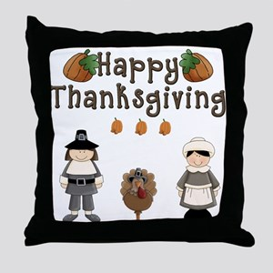 Happy Thanksgiving Pilgrims and Turkey Throw Pillo